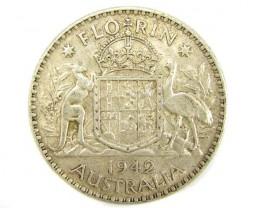 AUSTRALIAN COAT OF ARMS 1942  FLORIN .925 SILVER COIN CO913