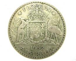 AUSTRALIAN COAT OF ARMS 1952 FLORIN SILVER COIN CO914