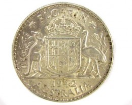 UNC AUSTRALIAN COAT OF ARMS 1942 FLORIN .92SILVER COIN CO915