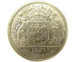 UNC AUSTRALIAN COAT OF ARMS 1963 FLORIN SILVER COIN CO916