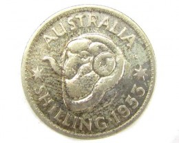 1953 AUSTRALIAN ONE SHILLING  SILVER COIN CO918