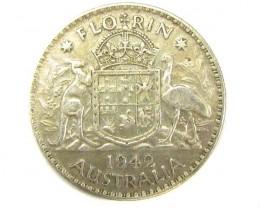AUSTRALIAN COAT OF ARMS 1942 FLORIN .925 SILVER COIN CO920