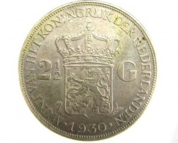 2 1/2 G NETHERLAND 1930 .720 SILVER COIN      J 1898