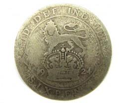 gb 1924 six pence  .500 silver poor j 1914