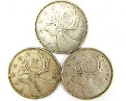 PARCELTHREE .25 CENTS .800 SILVER 194044,45, COINS    J 1915