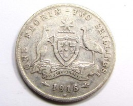 1916 AUSTRALIAN TWO SHILLINGS FLORIN 925 SILVER COIN CO933