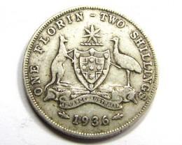 1936 AUSTRALIAN TWO SHILLINGS FLORIN 925 SILVER COIN CO934