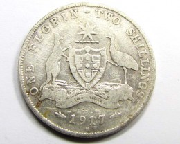 1917 AUSTRALIAN TWO SHILLINGS FLORIN 925 SILVER COIN CO937