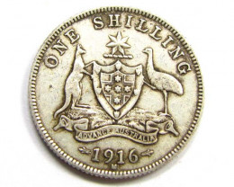 1916 AUSTRALIAN ONE SHILING  925 SILVER COIN CO944