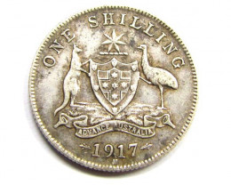 1917AUSTRALIAN ONE SHILING  925 SILVER COIN CO950