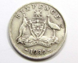 AUSTRALIAN 1939 SIXPENCE   925 SILVER COIN CO960