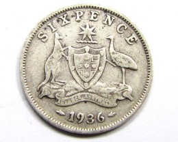 AUSTRALIAN 1936 SIXPENCE   925 SILVER COIN CO961