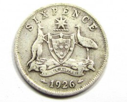 AUSTRALIAN 1926 SIXPENCE   925 SILVER COIN CO965