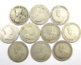 TEN PRE 1946 .925 SILVER COIN  J 1939