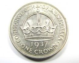 1937 AUSTRALIAN CROWN   925 SILVER COIN CO985