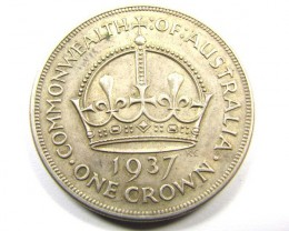 AUSTRALIAN 1937 CROWN   925 SILVER COIN CO987