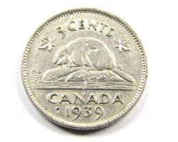 CANADIAN   1939 5 cents  COIN CO998
