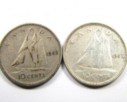 CANADIAN 10 CENTS 1949,43   SILVER COIN CO107