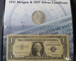 1921 MORGAN & 1957 SILVER CERTIFICATE/LAST YEAR SET