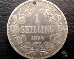 1894 SOUTH AFRICA HOLED ONE SHILLING  SILVER COIN  J 1955
