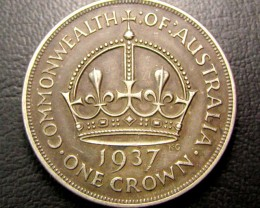 1937 CROWN .925 SILVER COIN  J 1960