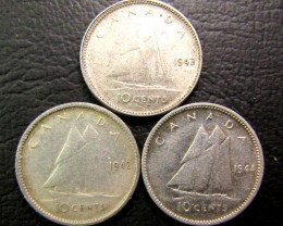 10 CENTS 1942,43,44 SILVER  .800 COIN  J 1966