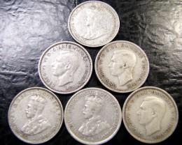 SIX PRE 46 .925 SILVER COIN  J 1976