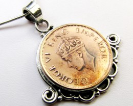 1940 COPPER COIN IN SILVER PENDANT CO 1100