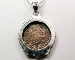 1940 COPPER COIN IN SILVER PENDANT CO 1102