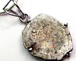 2000 YR OLD SASSANIAN KING  COIN IN SILVER PENDANT CO 1115