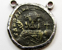 ANCIENT GREEK  BYZANTINE  COIN IN  PENDANT CO 1124