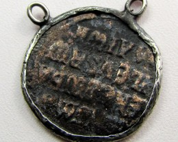 ANCIENT GREEK  BYZANTINE  COIN IN  PENDANT CO 1125