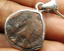 2500 YR OLD ANCIENT COPPER  COIN IN  SILVER PENDANT CO 1145