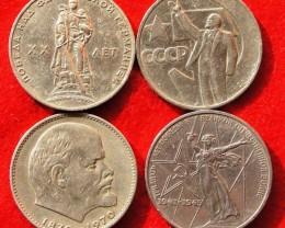 Russia 1 Rouble Anniversary 1965-1967-1970-1975
