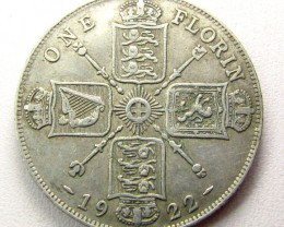 ONE FLORIN  1922 UK COIN  500 SILVER   CO 1254