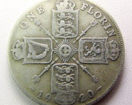 ONE FLORIN 1920 .500 SILVERUK COIN    CO 1255