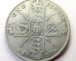 ONE FLORIN 1920 500 SILVER UK COIN    CO 1256