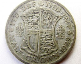1929 HALF CROWN  500 SILVER UK COIN    CO 1257