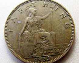 1933 FARTHING  UK COIN    CO 1260