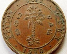 1910 CEYLON ONE CENT  COIN    CO 1261