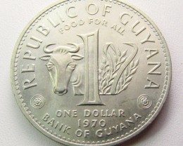GUYANA 1970  ONE DOLLAR  UNC COIN    CO 1287