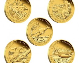 2012 Discover Australia 1/25oz Gold Set 5 1/25 ounce coins