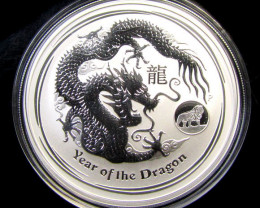 2012 AUSTRALIAN  ONE OUNCE DRAGON SILVER   COIN LION PRIVY