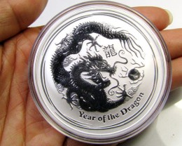 2012 AUSTRALIAN  TWO OUNCE DRAGON SILVER   COIN