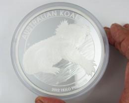 AUSTRALIAN KOALA 2012 1 KILO SILVER PROOF COIN