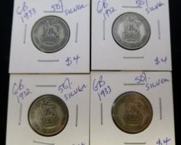 PARCEL 4 UK  COINS 50% SILVER   CO 1312