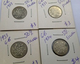 1933-34 PARCEL 4 UK  COINS 50% SILVER   CO 1314
