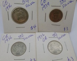 1936 PARCEL 4 UK  COINS 50% SILVER   CO 1315