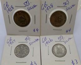 1926-28 PARCEL 4 UK  COINS 50% SILVER   CO 1319
