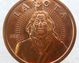 .999 PURE COPPER LAKOTA ONE OUNCE  MEDALLION CO1344ML